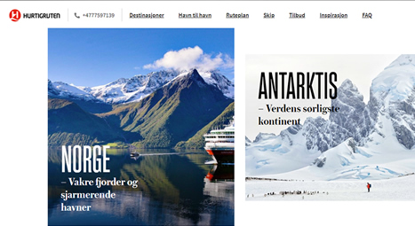 Website of Hurtugruten